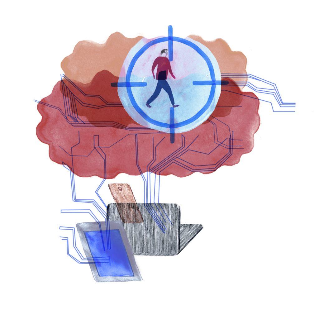 piirroskuvitus artikkeliin ihmisen jättämästä datajäljestä.