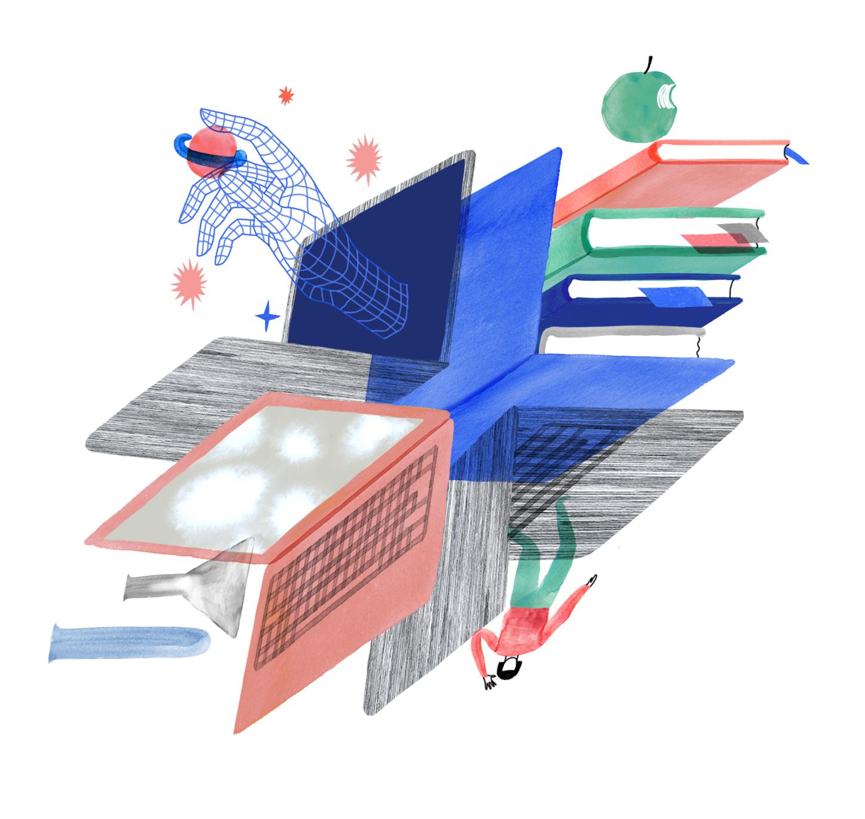 Piirroskuvakollaasi tietokoneista, kirjoista ja digitaalisesta oppimisympäristöistä. Aiheena tulevaisuuden koulutus