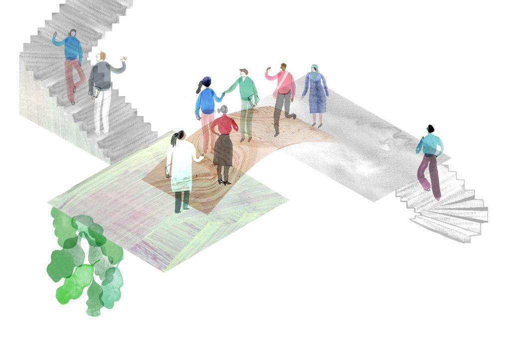 Graafisessa kuvituskuvassa ihmishahmoja kohtaamassa sillalla