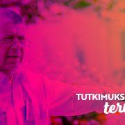 """Professori Jarmo Oksi; alareunassa teksti """"Tutkimuksella terveyttä"""""""